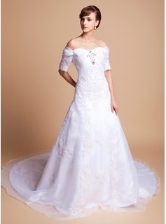 A-Line/Princess Off-the-Shoulder Cathedral Train Organza Satin Wedding Dress With Lace Beading