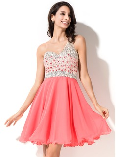 A-Line/Princess One-Shoulder Short/Mini Chiffon Tulle Homecoming Dress With Beading Sequins