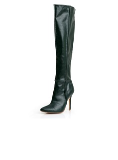 Real Leather Stiletto Heel Knee High Boots With Zipper shoes (088040894)