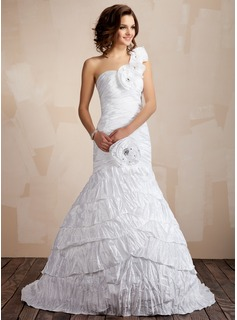 Trumpet/Mermaid One-Shoulder Sweep Train Taffeta Wedding Dress With Beading Flower(s) Pleated