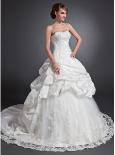 Ball-Gown Sweetheart Chapel Train Taffeta Tulle Wedding Dress With Ruffle Lace Beadwork