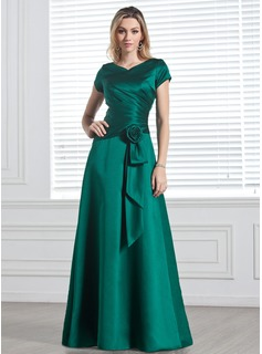 A-Line/Princess V-neck Floor-Length Satin Bridesmaid Dress With Ruffle Flower