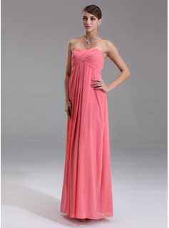 Empire Sweetheart Floor-Length Chiffon Evening Dress With Ruffle (017002551)