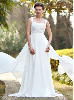 Empire Sweetheart Watteau Train Chiffon Satin Wedding Dress With Ruffle Beadwork Sequins
