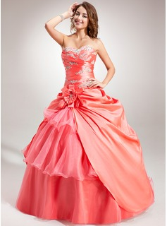 Ball-Gown Sweetheart Floor-Length Taffeta Organza Quinceanera Dress With Embroidered Ruffle Beading Flower(s)