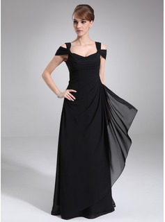 A-Line/Princess Off-the-Shoulder Floor-Length Chiffon Evening Dress With Ruffle (017021117)