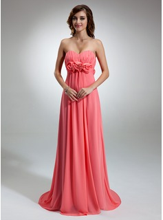 Empire Sweetheart Sweep Train Chiffon Evening Dress With Ruffle Flower(s)