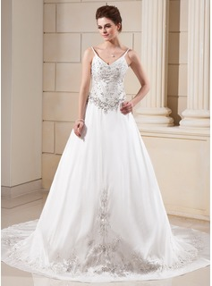 A-Line/Princess V-neck Chapel Train Taffeta Wedding Dress With Embroidery Beadwork
