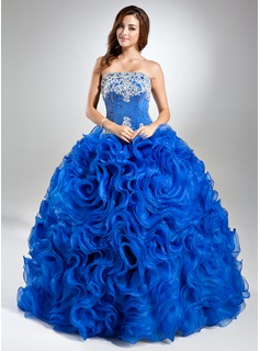 Ball-Gown Strapless Floor-Length Organza Quinceanera Dress With Lace Beading (021004687)