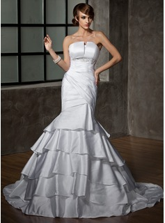Mermaid Scalloped Neck Court Train Satin Wedding Dress With Ruffle Beadwork