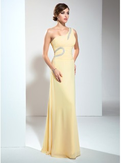 A-Line/Princess One-Shoulder Court Train Chiffon Evening Dress With Ruffle Beading (017002610)