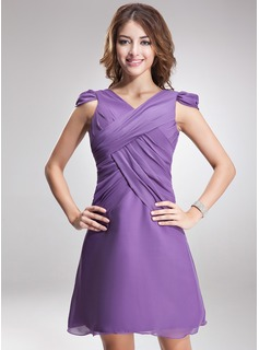 A-Line/Princess V-neck Short/Mini Chiffon Bridesmaid Dress With Ruffle