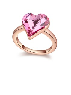 Sweet Heart Crystal/Gold Plated Ladies' Rings