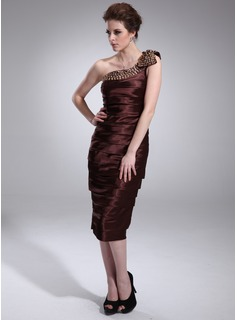 Sheath One-Shoulder Tea-Length Charmeuse Cocktail Dress With Ruffle Beading (016008483)