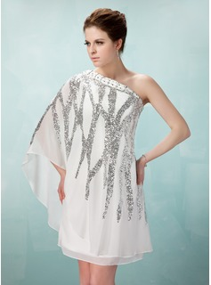 Sheath One-Shoulder Knee-Length Chiffon Cocktail Dress With Beading Sequins