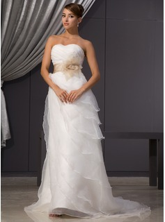A-Line/Princess Sweetheart Court Train Organza Satin Wedding Dress With Ruffle Sashes Beadwork Flower(s) (002014482)