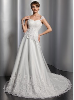 A-Line/Princess Sweetheart Chapel Train Satin Tulle Wedding Dress With Ruffle Lace Sequins