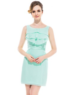 Sheath/Column Scoop Neck Short/Mini Chiffon Charmeuse Bridesmaid Dress With Ruffle Cascading Ruffles