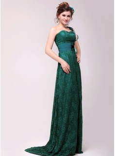 A-Line/Princess One-Shoulder Sweep Train Chiffon Charmeuse Lace Evening Dress With Beading