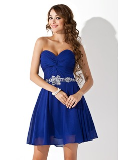 A-Line/Princess Sweetheart Short/Mini Chiffon Homecoming Dress With Ruffle Beading (022020989)