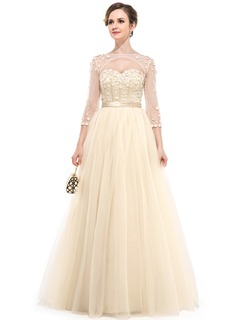 Ball-Gown Sweetheart Floor-Length Satin Tulle Evening Dress With Beading Flower