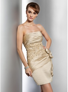 Sheath Strapless Short/Mini Satin Cocktail Dress With Ruffle Lace Beading Flower(s) (016014733)
