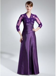 A-Line/Princess V-neck Floor-Length Taffeta Lace Mother of the Bride Dress With Ruffle Beading