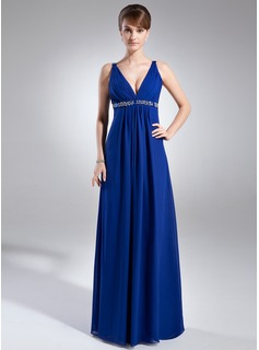 Empire V-neck Floor-Length Chiffon Holiday Dress With Ruffle Beading Sequins (020025947)