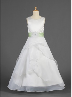 A-Line/Princess Scoop Neck Floor-Length Organza Charmeuse Flower Girl Dress With Sash Flower(s)