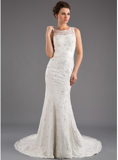 Mermaid Scoop Neck Court Train Satin Tulle Wedding Dress With Lace Beadwork
