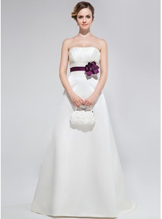 A-Line/Princess Strapless Sweep Train Satin Bridesmaid Dress With Ruffle Sash Flower(s)