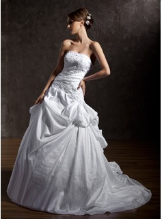 Ball-Gown Strapless Chapel Train Taffeta Wedding Dress With Ruffle Lace Beading Sequins
