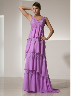 A-Line/Princess V-neck Sweep Train Chiffon Lace Evening Dress With Ruffle Beading