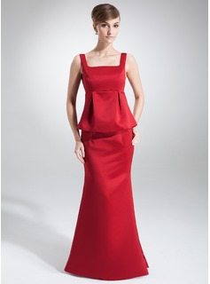 Empire Square Neckline Floor-Length Satin Maternity Bridesmaid Dress With Ruffle
