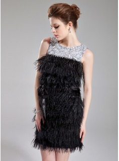 Sheath Scoop Neck Short/Mini Charmeuse Feather Cocktail Dress With Sash Beading Sequins (016008551)