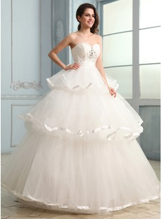 Ball-Gown Sweetheart Floor-Length Tulle Charmeuse Wedding Dress With Ruffle Beadwork (002030755)