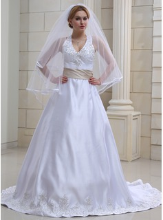 A-Line/Princess Halter Chapel Train Satin Wedding Dress With Embroidery Sashes Beadwork