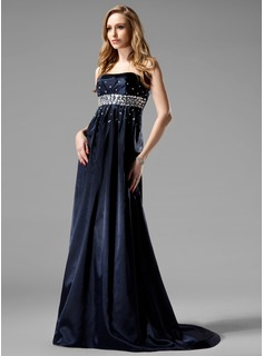 Empire Strapless Sweep Train Charmeuse Evening Dress With Beading