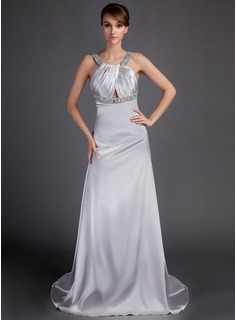 Empire Scoop Neck Watteau Train Charmeuse Mother of the Bride Dress With Ruffle Beading