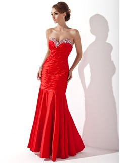 Mermaid Sweetheart Floor-Length Charmeuse Holiday Dress With Ruffle Beading