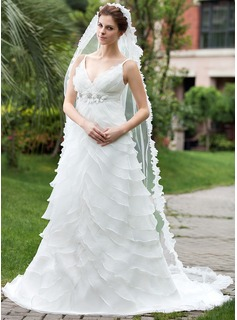Empire V-neck Chapel Train Organza Satin Wedding Dress With Beading Flower(s) Cascading Ruffles