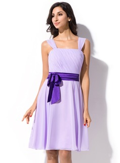 A-Line/Princess Knee-Length Chiffon Charmeuse Bridesmaid Dress With Ruffle Sash Bow(s)