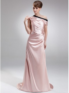 Sheath Off-the-Shoulder Sweep Train Charmeuse Evening Dress With Ruffle Sash