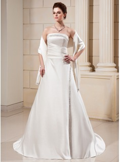 A-Line/Princess Strapless Court Train Satin Wedding Dress With Ruffle Beadwork (002000560)