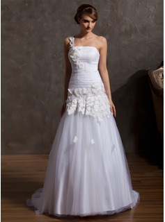 A-Line/Princess One-Shoulder Court Train Satin Tulle Wedding Dress With Ruffle Beading Appliques