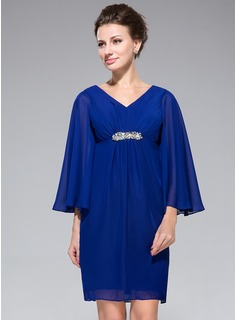 Empire V-neck Short/Mini Chiffon Mother of the Bride Dress With Ruffle Beading