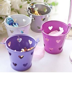 Heart Cut–outs Cylinder Favor Tins and Pails (Set of 12)