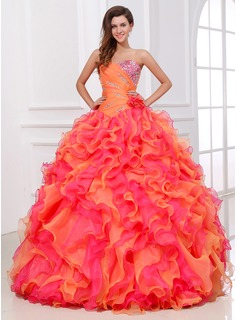 Ball-Gown Sweetheart Floor-Length Organza Quinceanera Dress With Ruffle Beading (021017529)