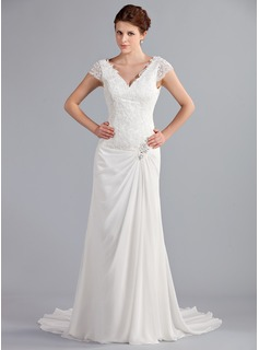 A-Line/Princess V-neck Court Train Chiffon Wedding Dress With Ruffle Lace Beadwork