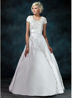 Ball-Gown Scoop Neck Court Train Satin Wedding Dress With Ruffle Beadwork Sequins